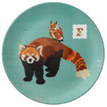 Placa del monograma de la panda roja y del búho plato de cerámica