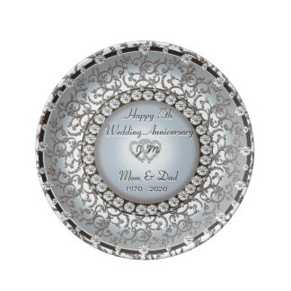 Placa del monograma del aniversario de boda platos de cerámica