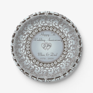 Placa del monograma del aniversario de boda platos de papel