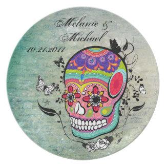 Placa del monumento de la fecha del boda del cráne plato para fiesta
