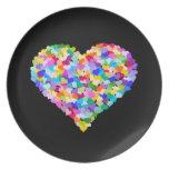 Placa del mosaico del corazón del arco iris platos para fiestas