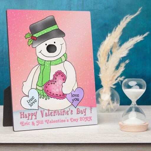 Placa del muñeco de nieve del el día de San Valent