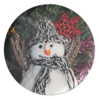 Placa del muñeco de nieve plato para fiesta