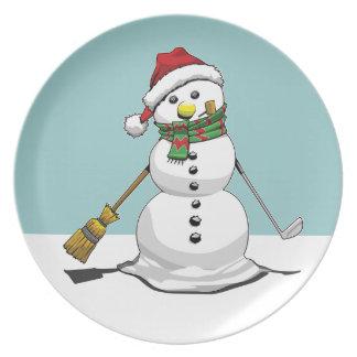 Placa del muñeco de nieve platos