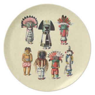 Placa del nativo americano de Kachinas del Hopi de Platos Para Fiestas