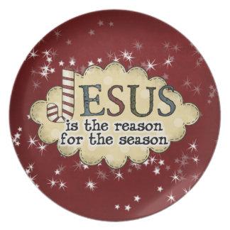 Placa del navidad de la estación de la razón de Je Plato Para Fiesta