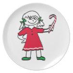 Placa del navidad de los chicas platos