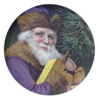 Placa del navidad de Papá Noel del Viejo Mundo del Platos De Comidas