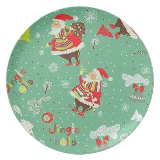 placa del navidad de Papá Noel del vintage Platos De Comidas