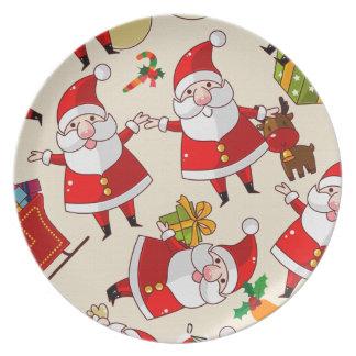 placa del navidad de Papá Noel del vintage Plato