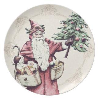 Placa del navidad de Papá Noel del vintage Platos Para Fiestas