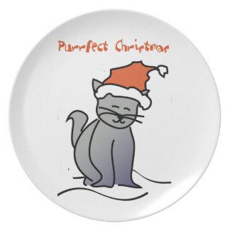 Placa del navidad del amante del gato platos para fiestas