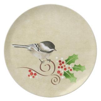 Placa del navidad del Chickadee Plato Para Fiesta
