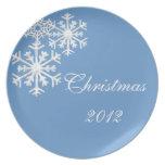 Placa del navidad del copo de nieve plato de comida