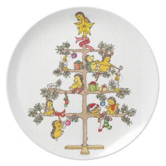 Placa del navidad del erizo plato de comida