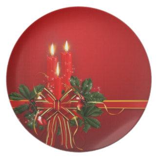 Placa del navidad plato de cena
