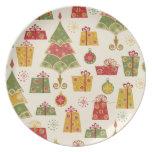 Placa del navidad platos para fiestas