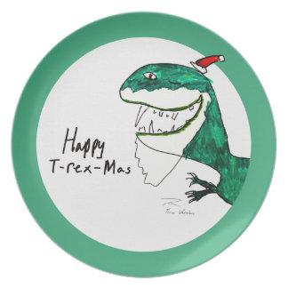 Placa del navidad T-Rex-Mas Plato Para Fiesta