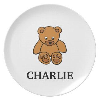 Placa del niño del oso de peluche de Brown con nom Platos Para Fiestas