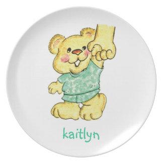 Placa del niño del oso de peluche platos