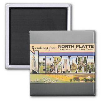 """Placa del norte la """"ciudad natal"""" Nebraska, V de B Imán Cuadrado"""