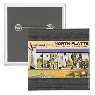 """Placa del norte la """"ciudad natal"""" Nebraska, V de B Pin Cuadrado"""