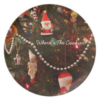 Placa del ornamento del navidad plato de cena
