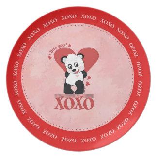 Placa del oso de panda platos para fiestas