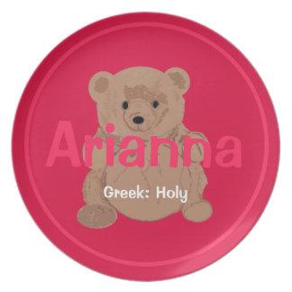 Placa del oso de peluche de Arianna Plato De Cena