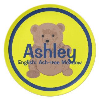 Placa del oso de peluche de Ashley Plato