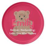 Placa del oso de peluche de Emily Platos Para Fiestas