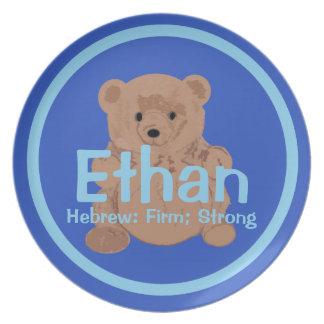 Placa del oso de peluche de Ethan Plato De Comida