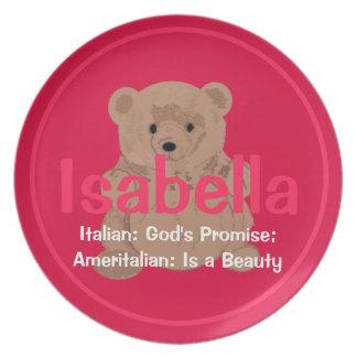 Placa del oso de peluche de Isabel Plato De Comida