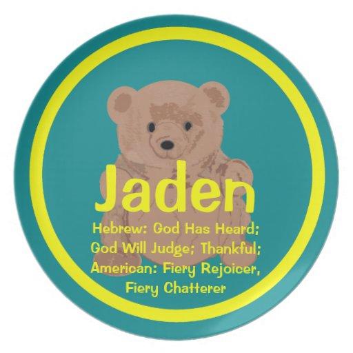 Placa del oso de peluche de Jaden Plato