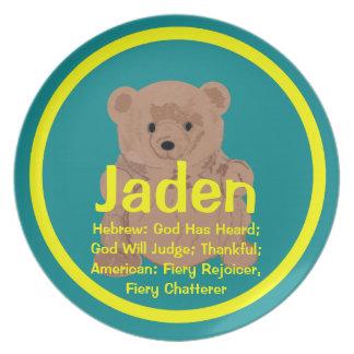 Placa del oso de peluche de Jaden Plato Para Fiesta