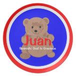 Placa del oso de peluche de Juan Plato De Cena