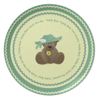Placa del oso de peluche de la niña plato de comida