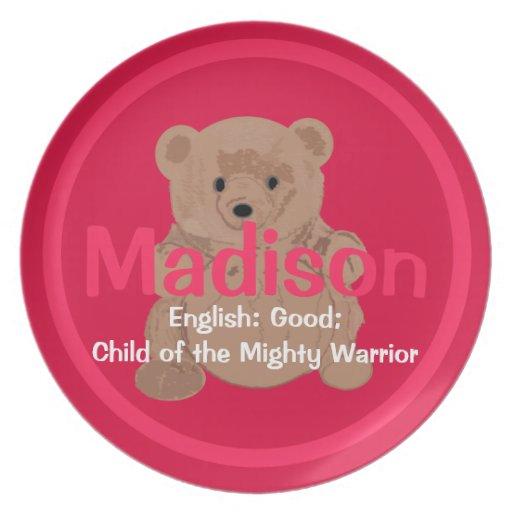 Placa del oso de peluche de Madison Plato Para Fiesta