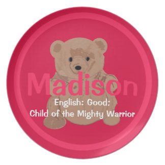 Placa del oso de peluche de Madison Platos De Comidas