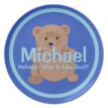 Placa del oso de peluche de Michael Plato De Cena