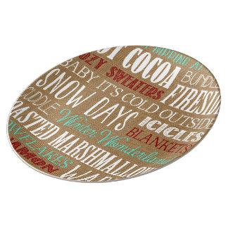 Placa del país de las maravillas del invierno de plato de cerámica
