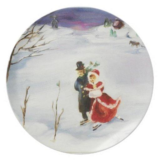Placa del país de las maravillas del invierno plato