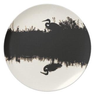 Placa del pájaro de la garza platos