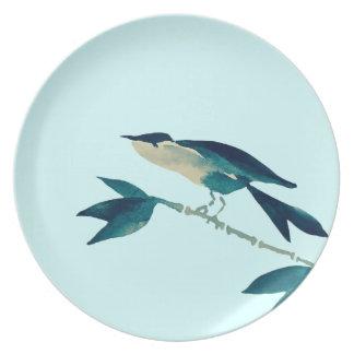 Placa del pájaro de Sumi-e en turquesa Plato
