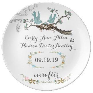 Placa del pájaro del amor del aniversario de la plato de cerámica