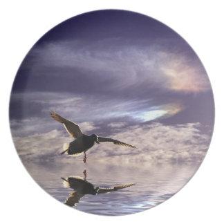 Placa del pájaro del pato del pato silvestre del plato de cena