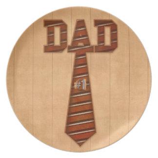 placa del papá del número uno platos para fiestas