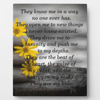 Placa del Parenting con el poema