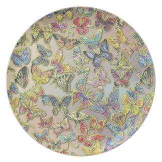 Placa del pastel del colector de mariposa plato de cena
