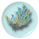 Placa del pavo real del baile plato de cena